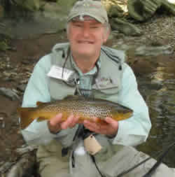 Allen Kessel with a Wild Brown from the Conewago Creek at www.flyfisher.com